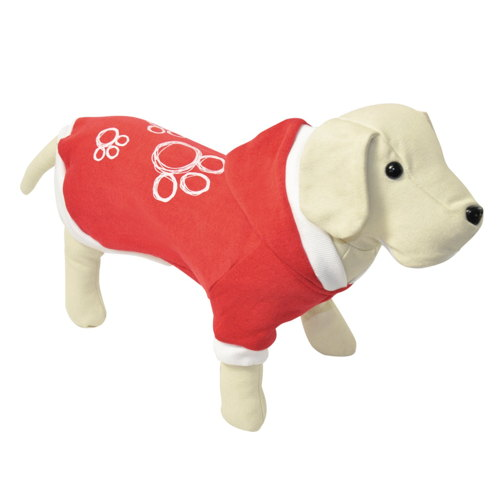 Suéter para cães 3 pegadas cor vermelha