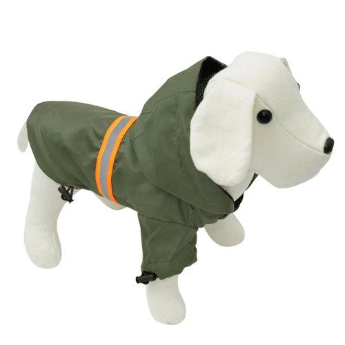 Jaqueta impermeável para cães refletora de cor cáqui