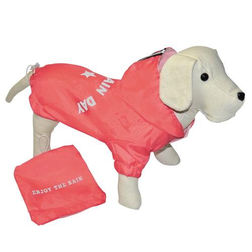 Jaqueta impermeável para cães com bolso cor coral