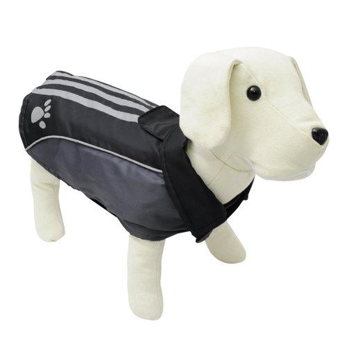 Abrigo impermeável refletor para cães com pegada cor preta