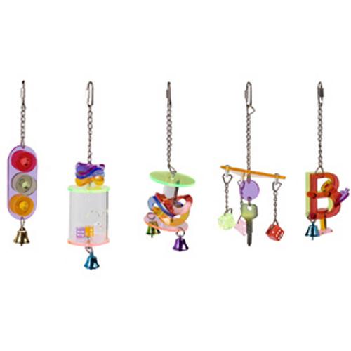 Brinquedos pendurados acrílicos sortido para pássaros