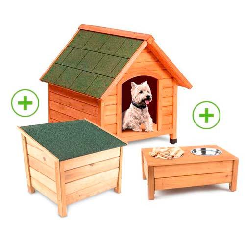 Pack casota para cães TK-Pet Woof com comedouro e armazenamento