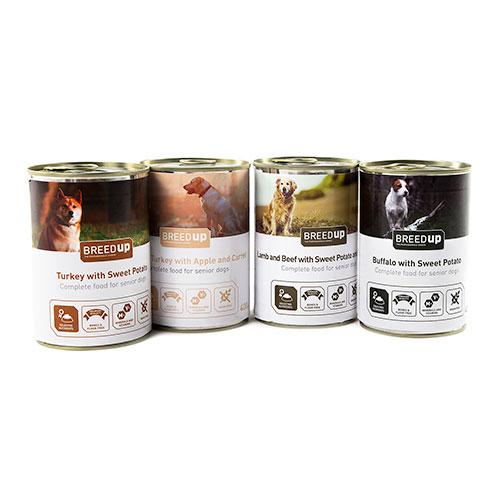 Pack degustação Breed Up de comida húmida para cães idosos