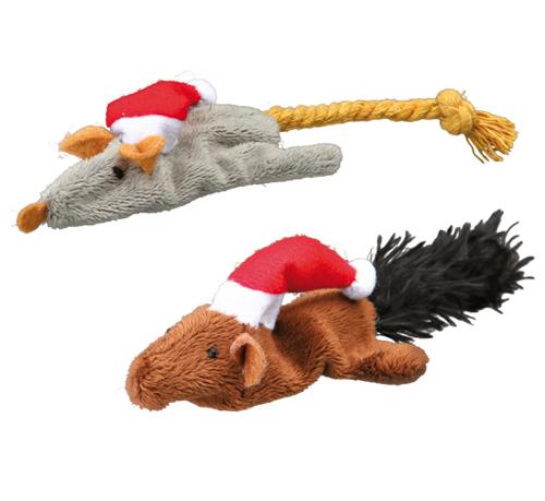 Peluches Natalícios Rato e Esquilo para Gatos
