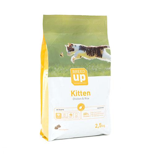 Ração superpremium para gatinhos Breed Up Kitten com frango