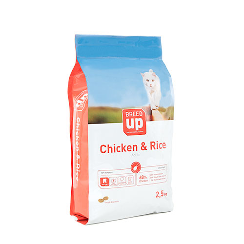Ração superpremium para gatos Breed Up Adult Chicken com frango