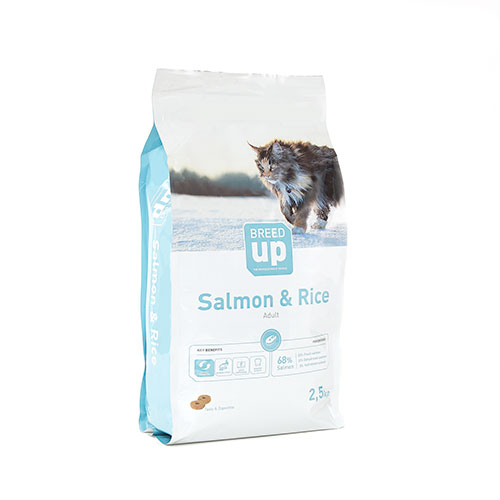 Ração superpremium para gatos Breed Up Adult Salmão com salmão