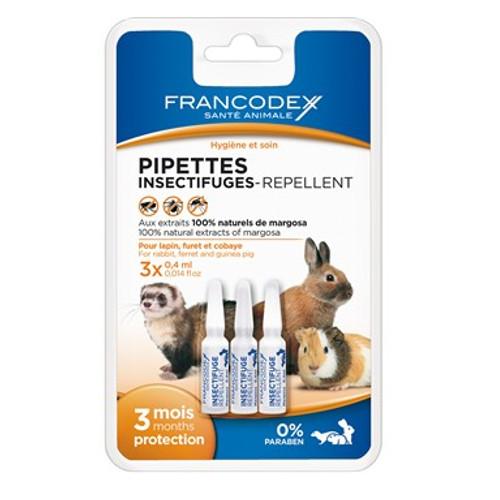 Pipetas antiparasitárias naturais para coelhos, furões e roedores Francodex