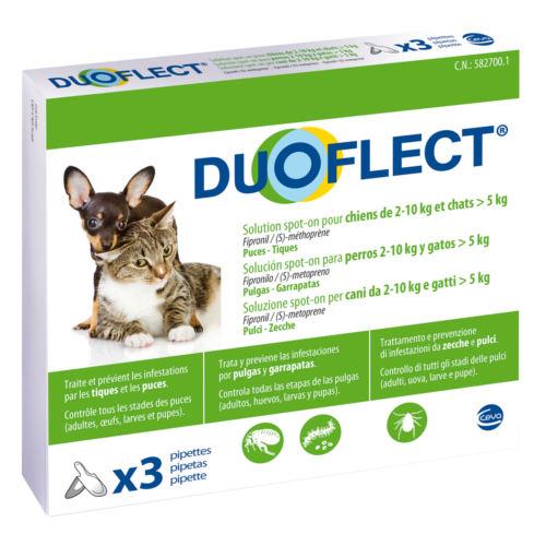Pipetas antiparasitárias para cães de 2-10 kg e gatos de >5 kg Duoflect