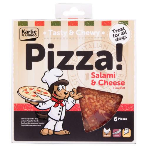 Pizza para cães de salame e queijo