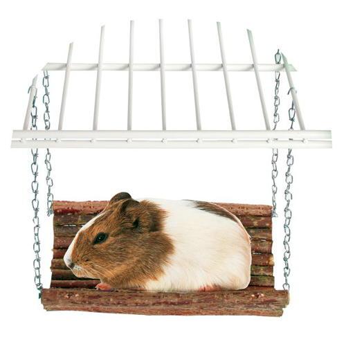 Plataforma suspensa de madeira para roedores