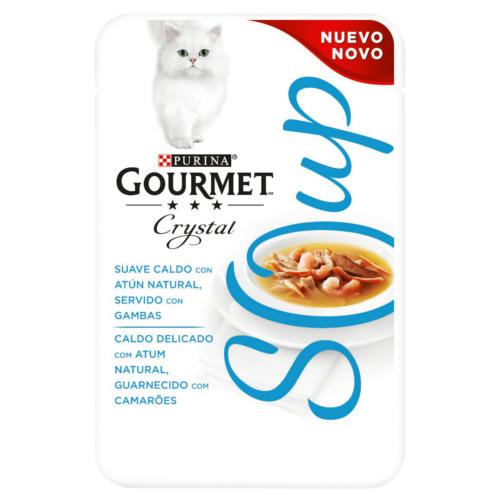 Purina Gourmet Crystal sopa com atum natural e camarão para gatos