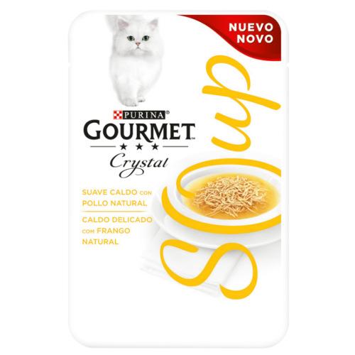 Purina Gourmet Crystal sopa com frango natural para gatos
