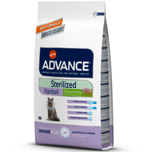 Ração para gatos esterilizados Advance Sterelised Hairball
