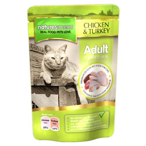 Sacos de comida húmida de frango e peru para gatos Natures Menu Adult