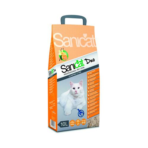 Sanicat Clumping duo Areia aglomerante perfumada para gatos
