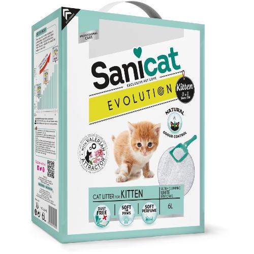 Sanicat Evolution Kitten areia aglomerante com valeriana para gatos