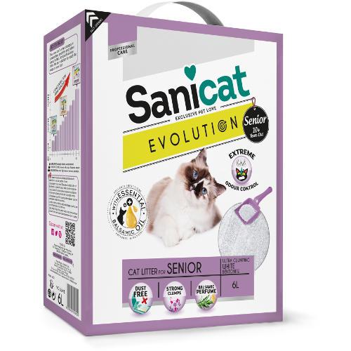 Sanicat Evolution Senior areia aglomerante perfumada para gatos