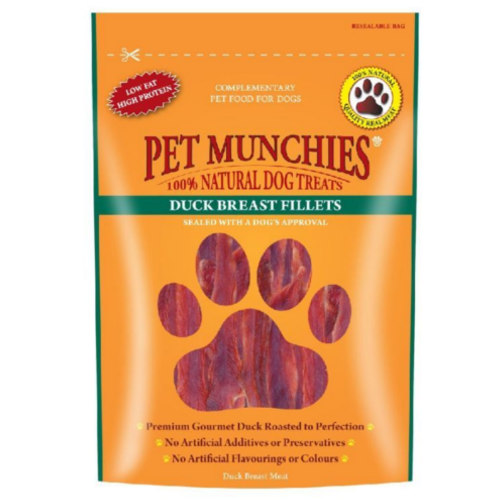 Snacks para cães Pet Munchies Duck Breast Fillets bifes de peito de pato