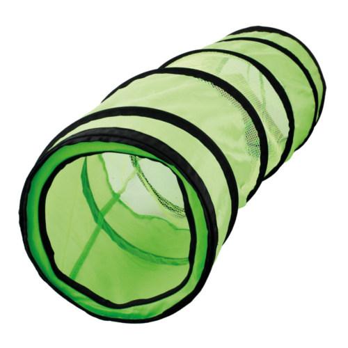 Túnel verde com rede para gatos