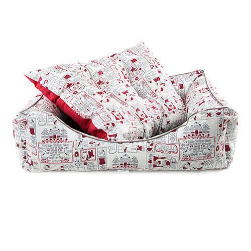 Cama para cães e gatos TK-Pet Christmas Home tipo berço acolchoada