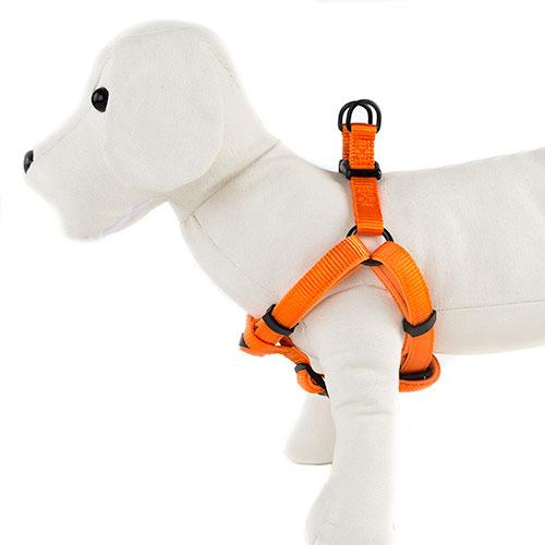 Arnês para cães TK-Pet Neo Classic cor de laranja de nylon e neopreno