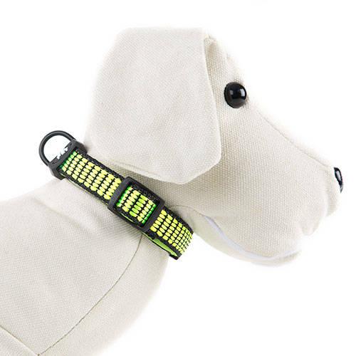 Coleira para cães TK-Pet Urban Night verde lima refletora