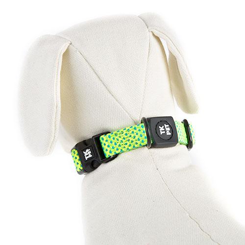 Coleira para cães TK-Pet Neo Design verde lima de nylon e neopreno