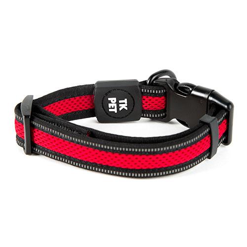Coleira para cães TK-Pet Reflective Comfort vermelha com costura refletora