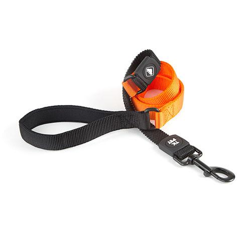 Trela para cães TK-Pet Shock Control cor de laranja com pega em neopreno