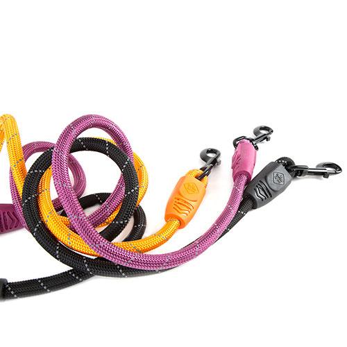 Trela para cães de nylon redondo TK-Pet Reflective Rope preta