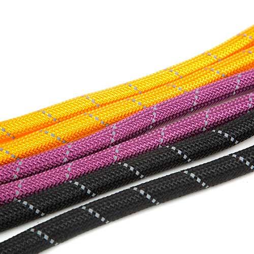 Trela para cães de nylon redondo TK-Pet Reflective Rope preta com pega