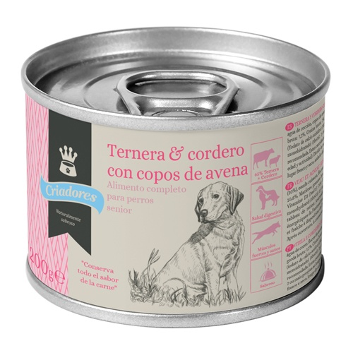 Comida húmida para cães idosos Criadores de vitela e cordeiro com aveia