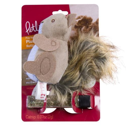 Esquilo de peluche recarregável de catnip para gatos