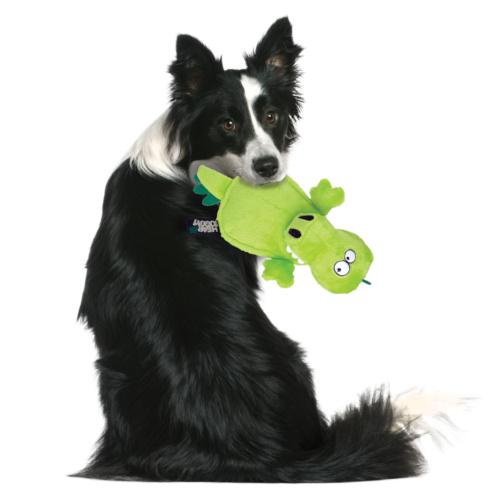 Crocodilo de peluche para cães com ultrassom.