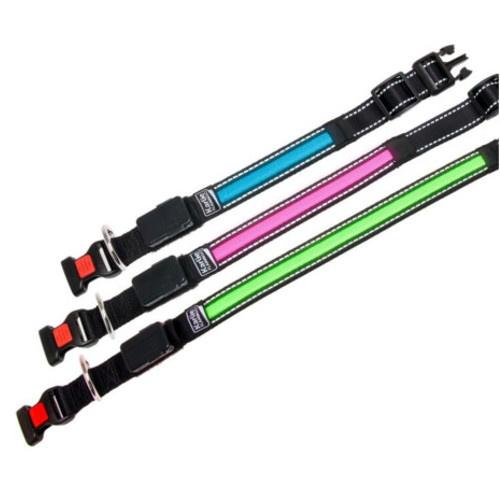 Coleira com faixa LED rosa com carregador USB