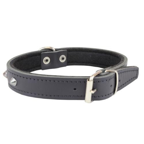 Coleira de pele preta com rebites para cães