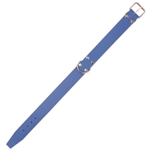 Coleira de couro azul com forro interior para cães
