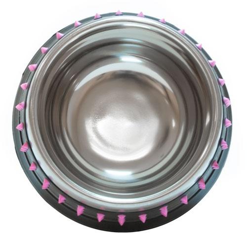 Comedouro metálico TK-Pet de desenho Rock rosa