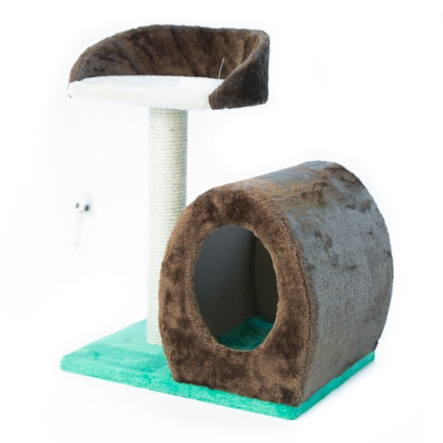 Arranhador com caverna e rato pendurado para gatos TK-Pet Cetus