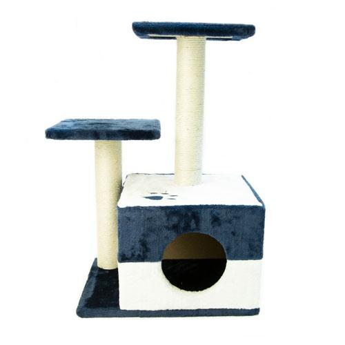 Arranhador com refúgio e plataformas TK-Pet Corvus azul