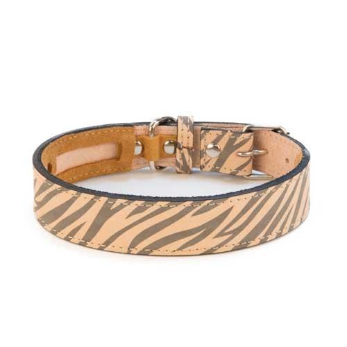 Coleira de pele para cães TK-Pet Zebra