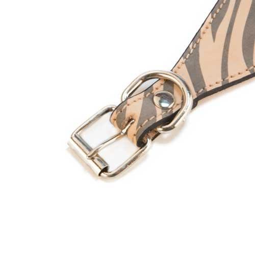 Coleira de pele para lébrel TK-Pet Zebra