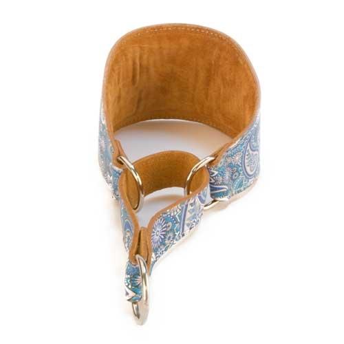 Coleira de pele para galgo TK-Pet Paisley azul