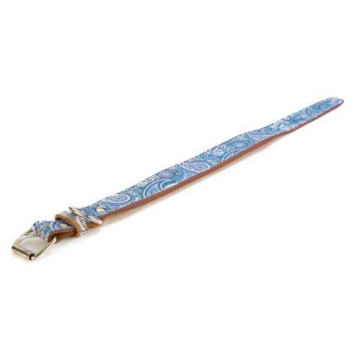 Coleira de pele TK-Pet Paisley azul