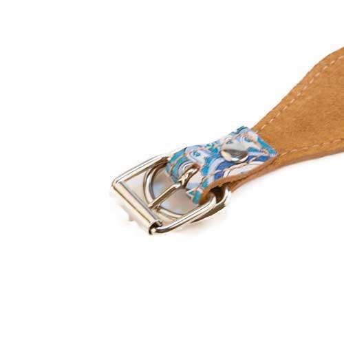 Coleira de pele para lébrel TK-Pet Paisley azul