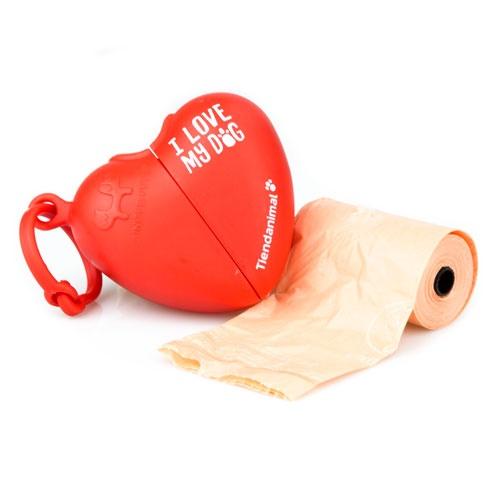 Dispensador de sacos de coração Tiendanimal vermelho