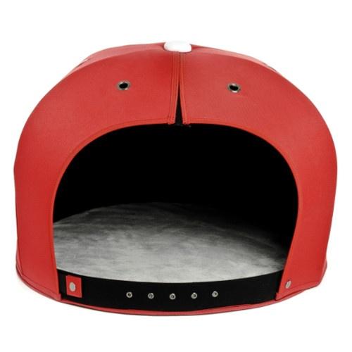 Cama gorro para gatos vermelho