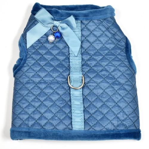 Casaco com peitoral Diamond azul para cães
