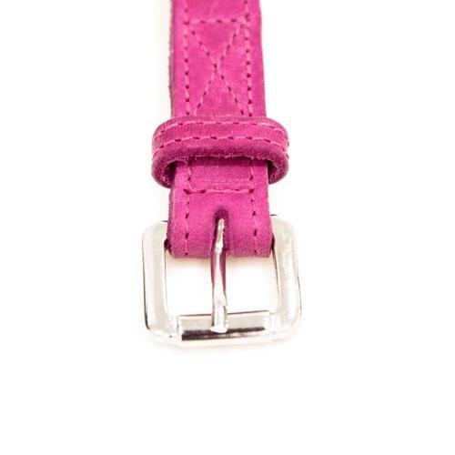 Coleira de couro para cães Namur cor-de-rosa